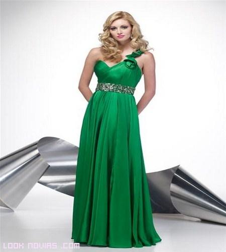 Vestidos verdes asimétricos