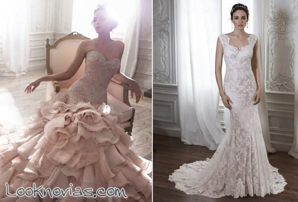 novias muy elegantes con pedrería y bordados