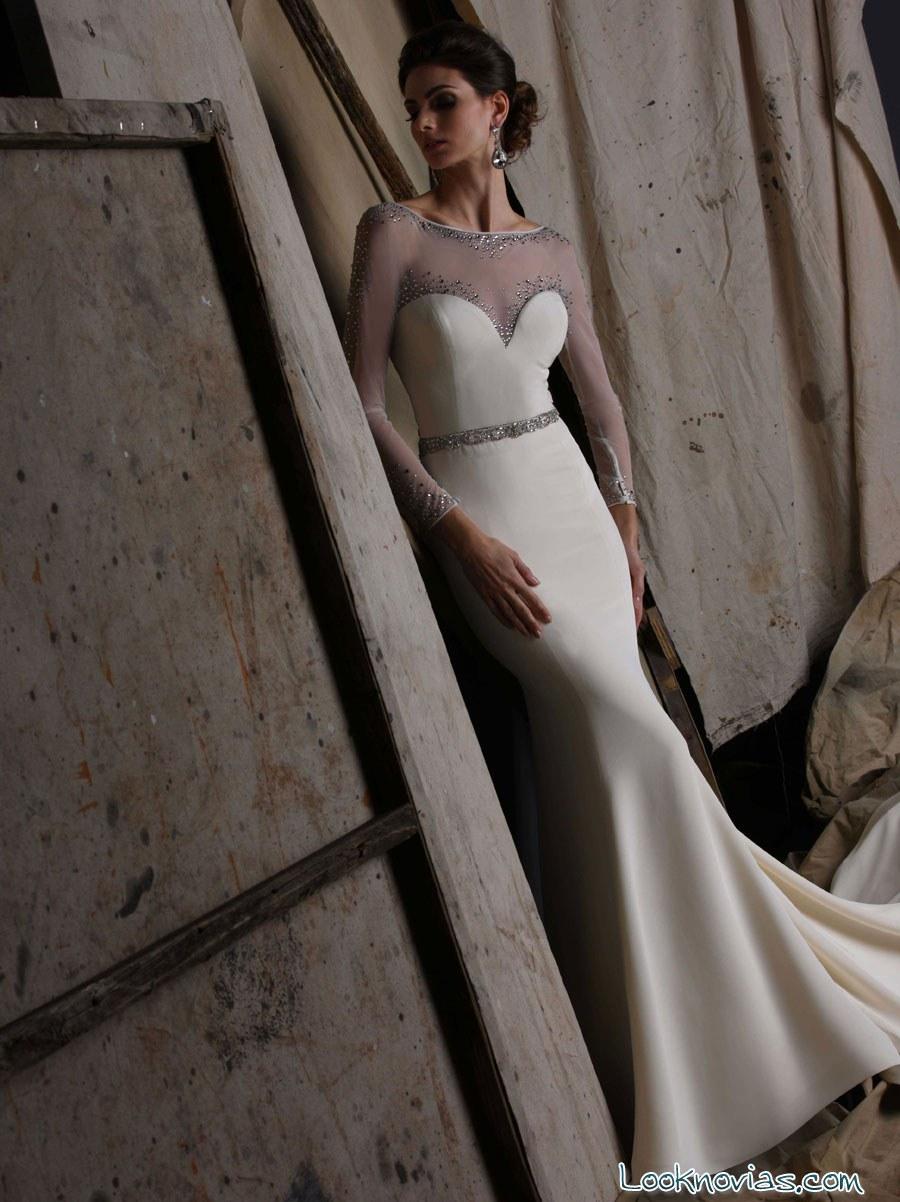victor harper vestido de novia con  mangas