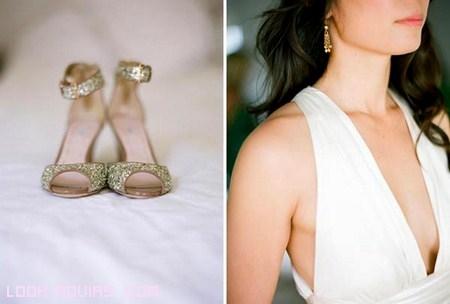 Zapatos de novia color oro